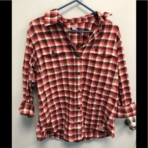 Plaid red and white button down